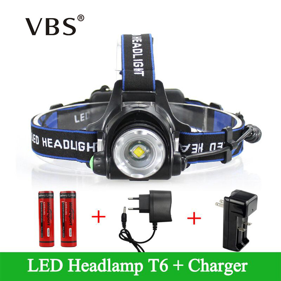 Head Lamp Led T6 Headlights Lantern 3 Modes Waterproof Zoomable Lamp Head Torch Flashlight 10w Rechargeable Lantern On Forehead