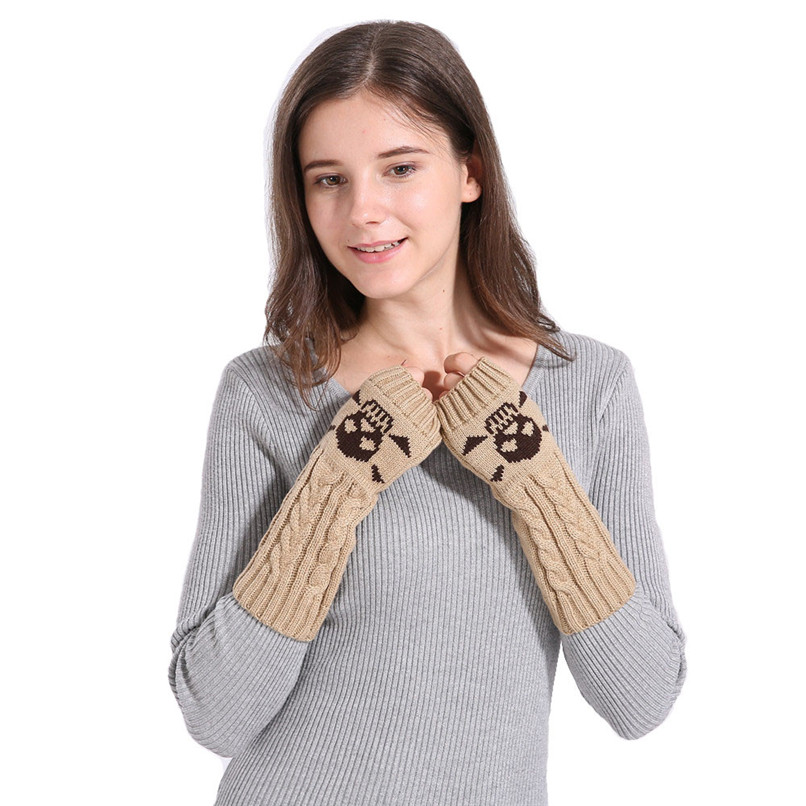Mittens Womens Free Knitting Woman Winter Warm Knitted Long Twist Plus Thick Half Finger Gloves Mittens 30SP311