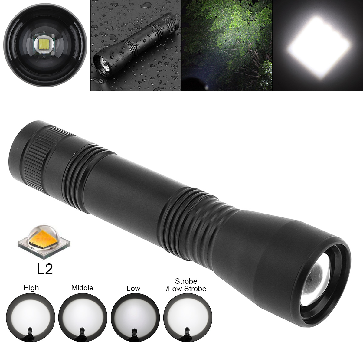 Super Bright XML L2 LED Flashlight Torch Lamp 1600LM Aluminum Alloy Waterproof Zoomable Flash Light for Camping Outdoor Fishing super bright c8 led xml l2 flashlight 5000lm tactical flash light aluminum torch camping lamp light outdoor lighting