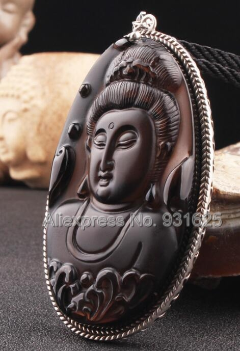 925 Silver Natural Ice Obsidian Carved Chinese Amulet Beauty Kwan-Yin Lucky Pendant + Beads Necklace Fashion Charm Jewelry925 Silver Natural Ice Obsidian Carved Chinese Amulet Beauty Kwan-Yin Lucky Pendant + Beads Necklace Fashion Charm Jewelry