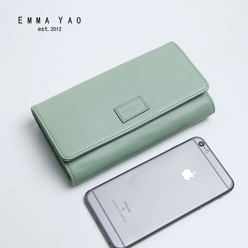 ФОТО EMMA YAO fashion leather wallet female korean three fold purse brand coin purses holders