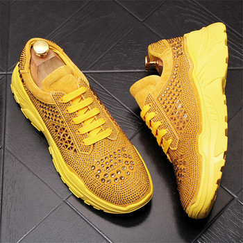 2019 Breathable Fashion Men Sneakers Adult Male Comfortable Shoes For Men Mesh Rhinestone Casual Shoes 6#20D50
