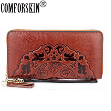 COMFORSKIN Long Vintage Womens Wallets Premium 100%Cowhide Leather Embossed Flower Woman Zipper Purses With Hand Rope 2019 Hot