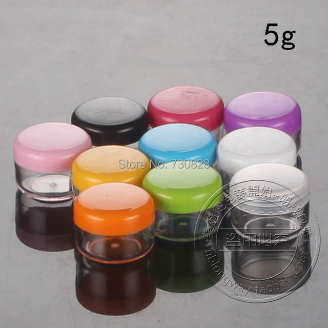 US $43 2 |100PCS/LOT 5G Cream Jars,Multicolor Caps,Clear Plastic Cosmetic  Container,Small Nail Art Canister,Sample Makeup Sub bottling-in Refillable