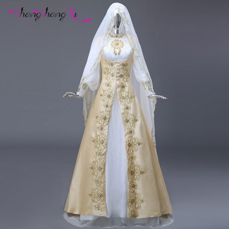 Popular gold bridal gown buy cheap gold bridal gown lots for Wedding dresses with gold beading