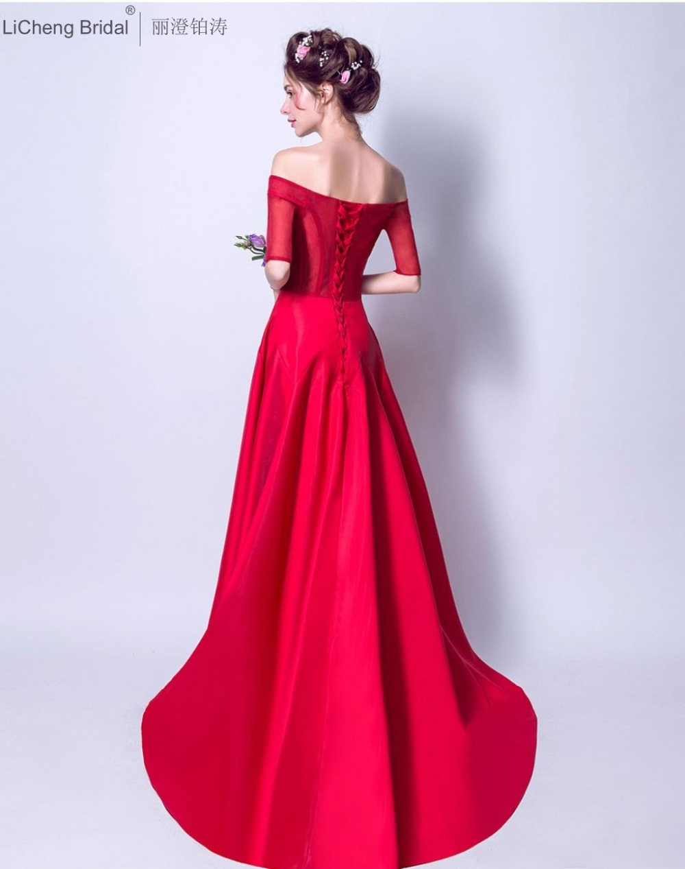 Aliexpress buy fast shipping red bridesmaid dress long aliexpress buy fast shipping red bridesmaid dress long beaded appliques women dress off shuolder party dresses 2017 robe de soiree from reliable red ombrellifo Images