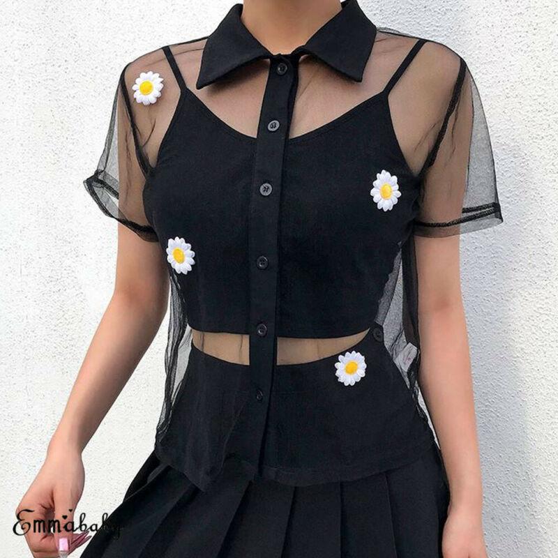 2019 Newest Hot Summer Ladies Women's Short Sleeve T-Shirts Fashion Sheer Mesh See Through Floral Button Top T-Shirt