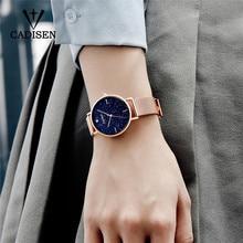 CADISEN Fashion Gold Women Watches 2018 High Quality Ultra thin Quartz Watch Woman Elegant Dress Ladies Montre Femme+BOX