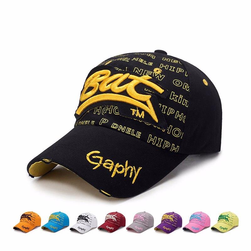 2019 New Vintage Broken Hole Letter BAT Cap Casual Outdoor Baseball Caps For Men Women Snapback Caps Sun Hat Bone Garros