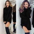Casual Turtleneck Sweater Dress Long Sleeve Solid Loose Autumn Dress Ukraine Hot Plus Size Black Dress 4 Colors Vestido de Festa