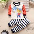 Marca de Ropa de Bebé Establece 2 Unids Trajes de Algodón Redondo-cuello de la Camisa Del Bebé + Pantalones Del Bebé Del Algodón de Los Muchachos Chándales Chicas para el Niño