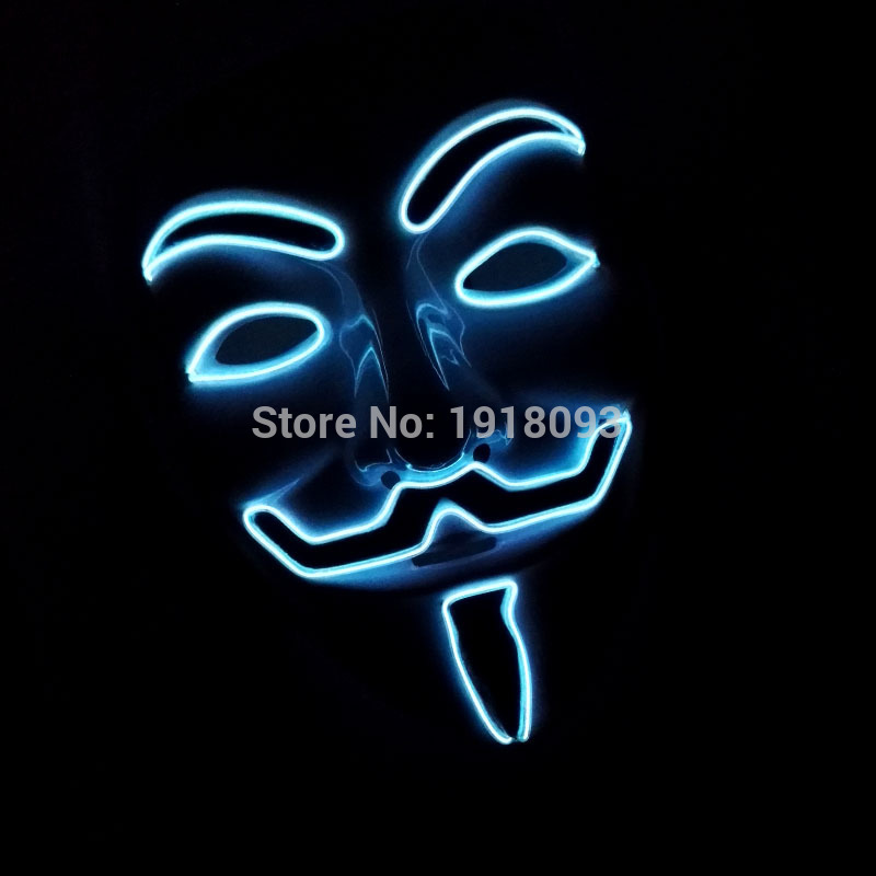 2020 Hot Glowing Vendetta Mask 10 color Select EL wire Neon Mask as Holiday lighting For Festival Carnival Dance Night Party