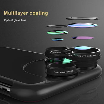 5 in 1 CPL Smartphone Lens For iPhone X Fisheye Camera 15X Macro Wide angle Polarized Light Dedicate Phone Case Shell+Lenses  smartphone