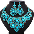 Promotion Wedding jewelry colorful crystal rhinestone statement necklace and earrings set african bridal jewelry sets