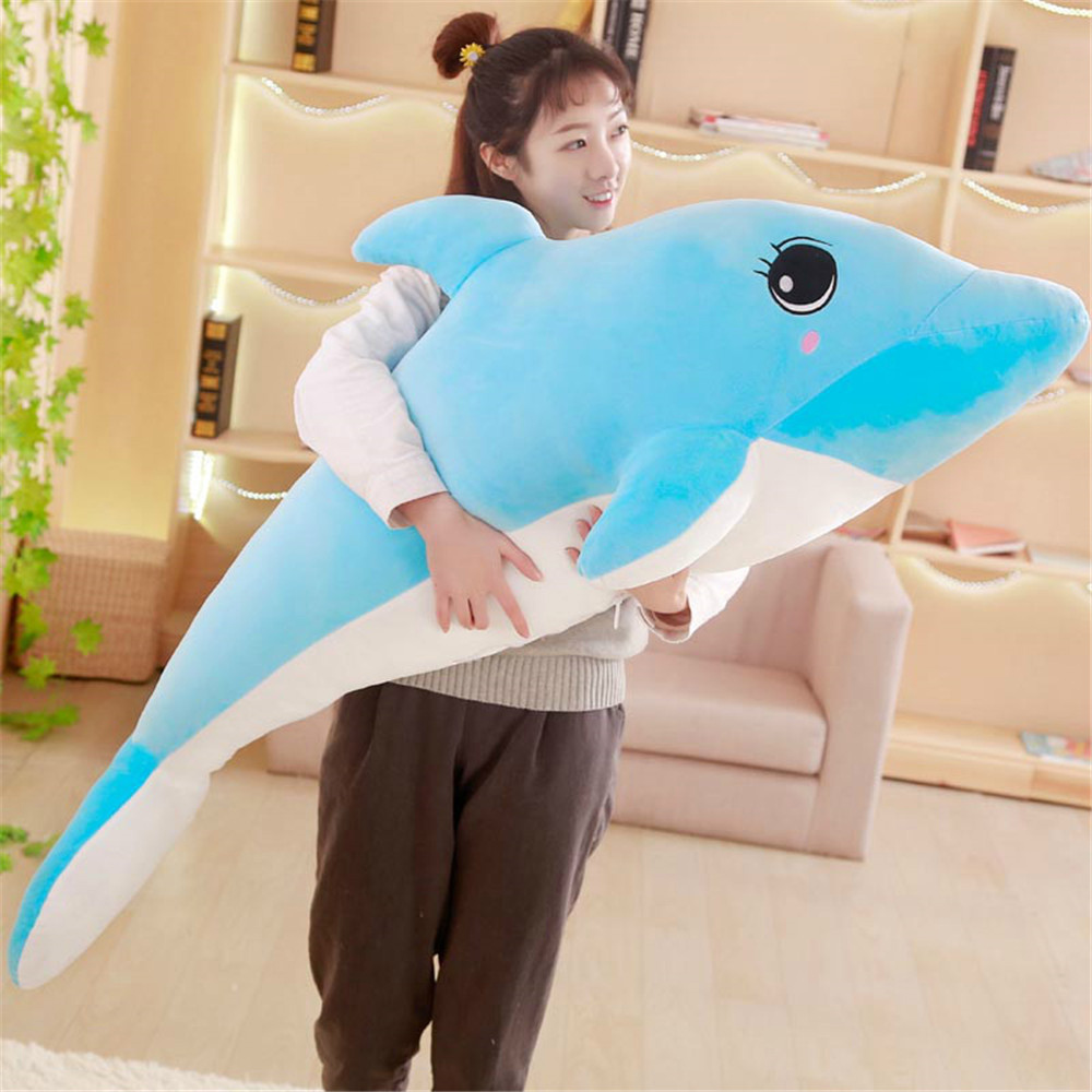 Fancytrader Big Anime Pink Blue Dolphin Plush Toys for Kids Stuffed Soft Animals Cartoon Dolphin Doll 130cm/100cm/80cm