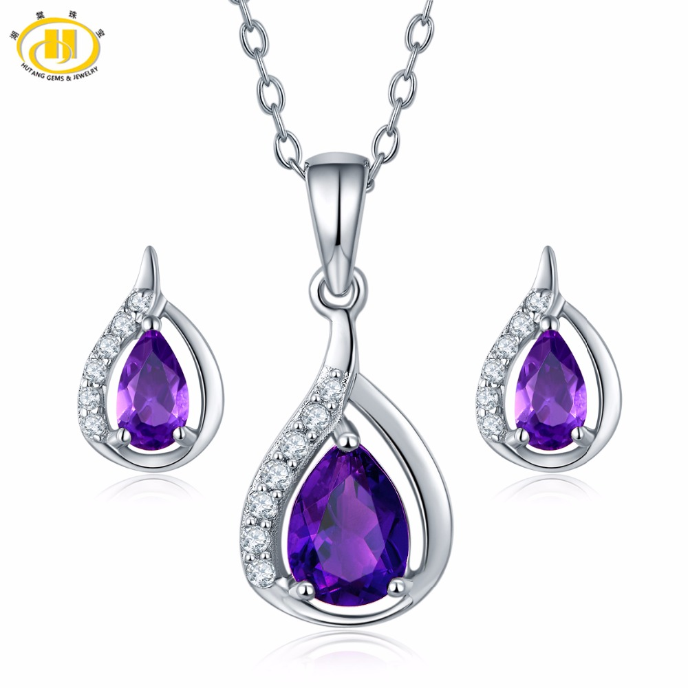 Hutang Amethyst Jewelry Sets Natural Gemstone Earrings Pendant Solid 925 Sterling Silver Fine Fashion Stone Jewelry For WomenHutang Amethyst Jewelry Sets Natural Gemstone Earrings Pendant Solid 925 Sterling Silver Fine Fashion Stone Jewelry For Women