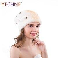 Для женщин реального норки меховая шапка зимние теплые шапочки Шапки Натуральная мех енота Шапки Женская зимняя обувь Hat