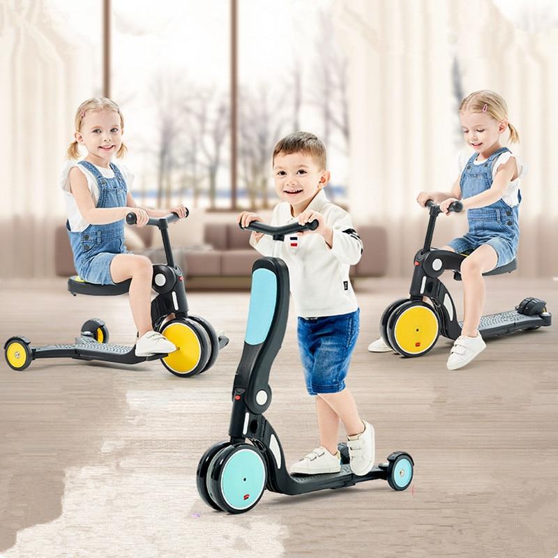 Enfants Scooter Tricycle bébé 3 en 1 Balance vélo tour sur jouets bébé Tricycle pliant vélo enfants en plein air tout-petits