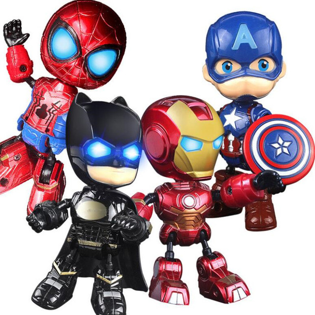 Os Vingadores Homem De Ferro Homem Aranha Capitão América Herói Da Liga Figura Caráter Brinquedos Modelo Boneca com Som luz Presente Das Crianças