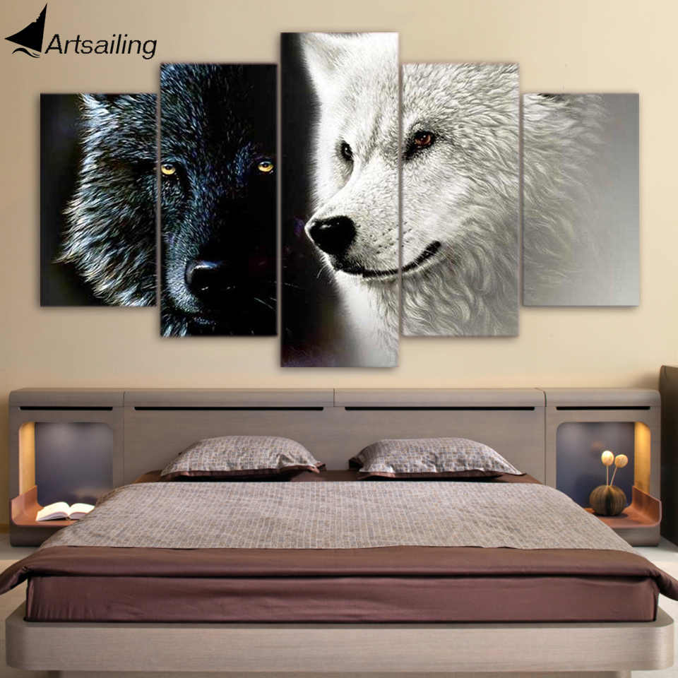 HD Printed 5 Piece Canvas Art Abstract Black White Wolf Couple Painting Wall Pictures for Living Room Free Shipping CU-1677A