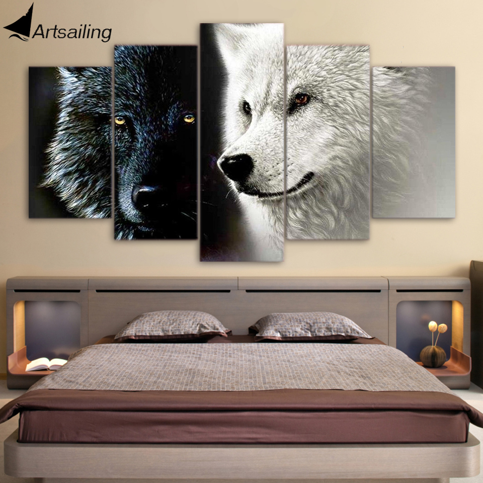 HD Printed 5 Piece Canvas Art Abstract Black White Wolf Couple Painting Wall Pictures for Living