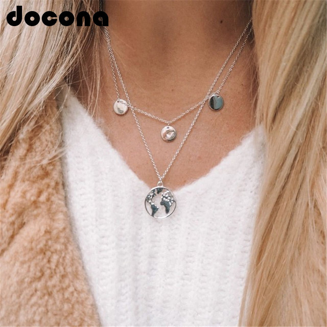 docona World Map Pendant Necklace for Women Silver Gold Metal Dainty Globe Earth