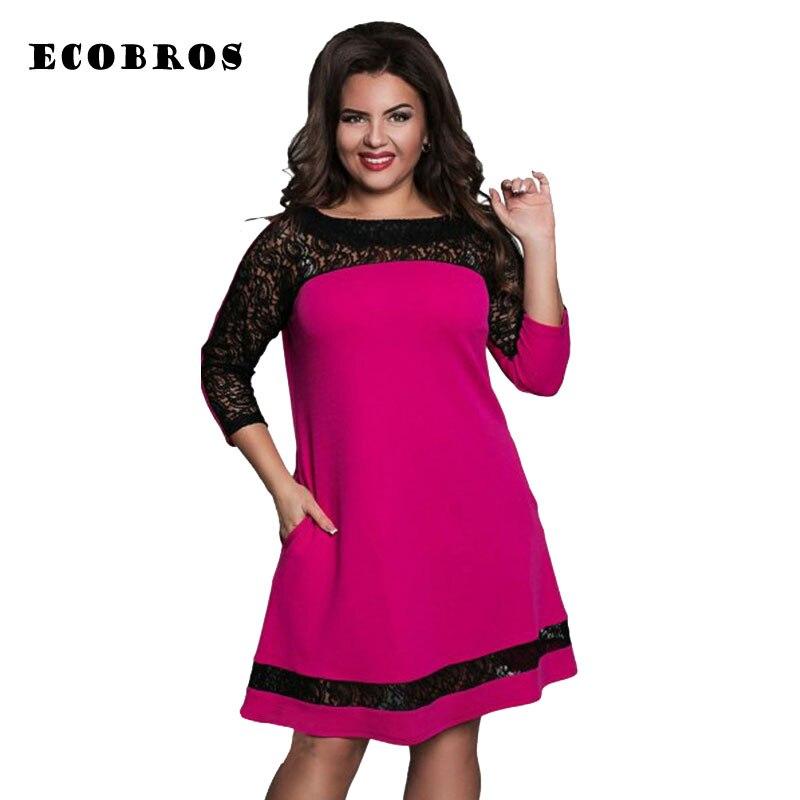 ECOBROS Big size 6XL 2019 New Fat MM Woman Lace dress Loose solid patchwork  knee dresses 4a341f5c2916