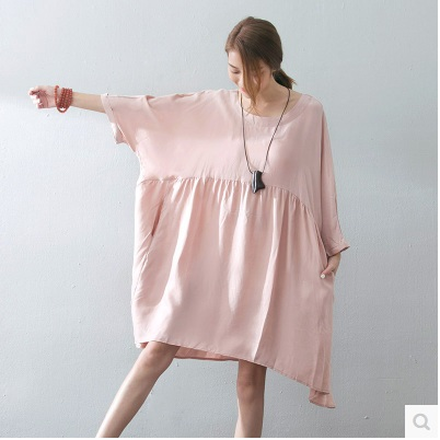 New product launch in the spring of 2016, the original design loose big yards asymmetry of silk ladys dress