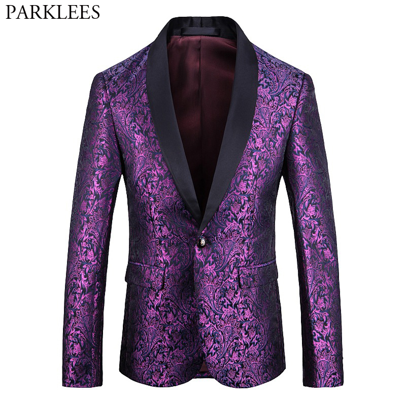 Purple Paisley Floral Embroidered Dress Blazer Men One Button Shawl Lapel Slim Blazers Mens Wedding Party Dinner Stage Costumes