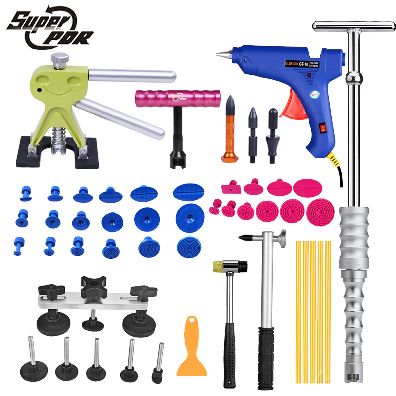 PDR tools Car Dent Repair Tool set Slide Hammer Glue Gun Dent Puller 45pcs auto body repair tools Dent removal tool kit 46pcs 1 4 inch high quality socket set car repair tool ratchet set torque wrench combination bit a set of keys chrome vanadium
