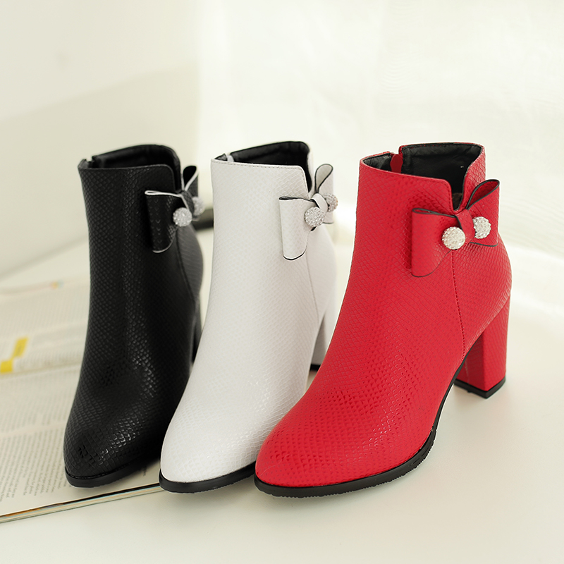ФОТО Thicken heel women boots ankle boots woman autumn shoes med heel martin boot sy-2059