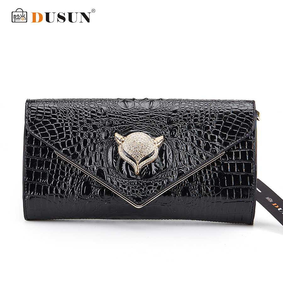 ФОТО DUSUN Women Messenger Bags Genuine Leather Women Bag Luxury Banquet Clutch Rhinestone Design Messenger Bag Leisure Handbags