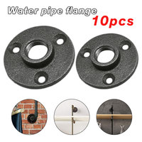10pcs Cast Iron Flanges Iron Pipe Fittings Wall Mount Floor Antique DN15 DN20 Flange Piece Hardware Tool