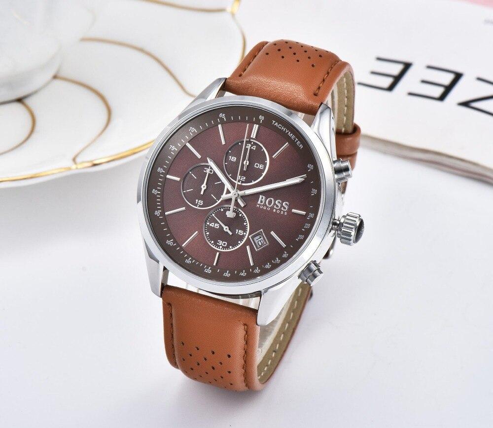 BOSS 2019 hommes montre en cuir automatique Date montres à Quartz marque de luxe étanche Sport montres à Quartz Relogio Masculino - 4