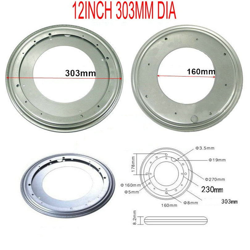 HQ 12INCH (300MM) TV Rack Desk Tool Full Ball Bearing Swivel Plate Lazy Susan Turntable