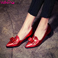 VALLKIN Sexy Size 34-42 Red Bow Tie Genuine Leather Square Heels Solid Women Pumps Slip On Spring/Autumn  Party hoe Pointed Toe