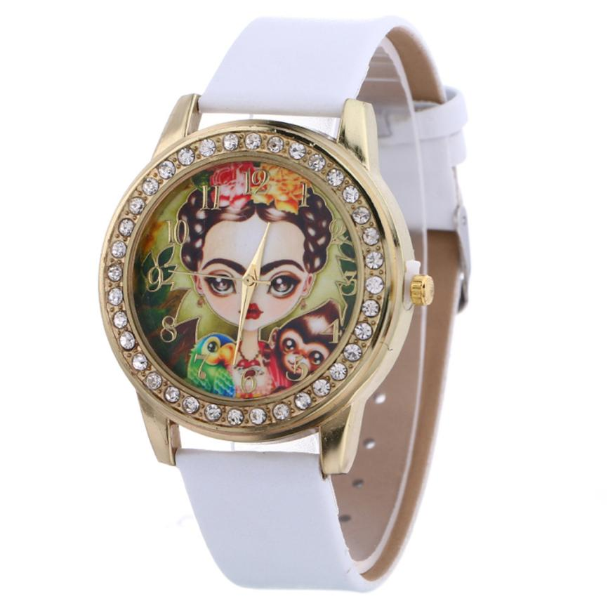 OTOKY Watches Women Brand New Classic Alloy Round Case Pattern Leather Strap Quartz Analog Gifts my29