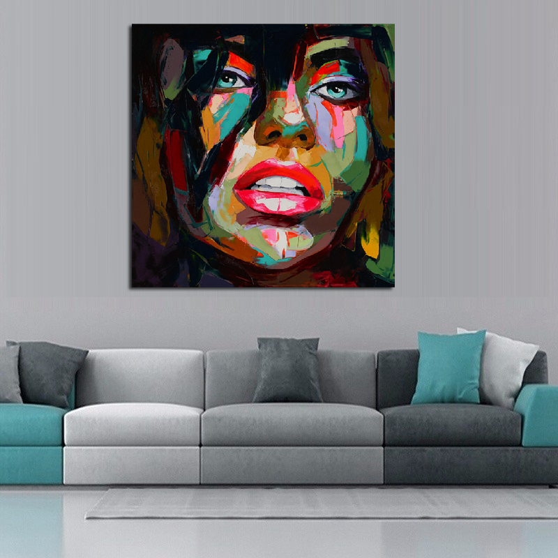 Francoise Nielly Oil Painting Handmade Abstract Portrait Palette Knife Art Home Goods Wall Canvas One Piece In Calligraphy From