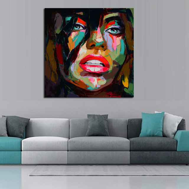 Francoise Nielly Oil Painting Handmade Abstract Portrait Palette Knife Art Home Goods Wall Canvas