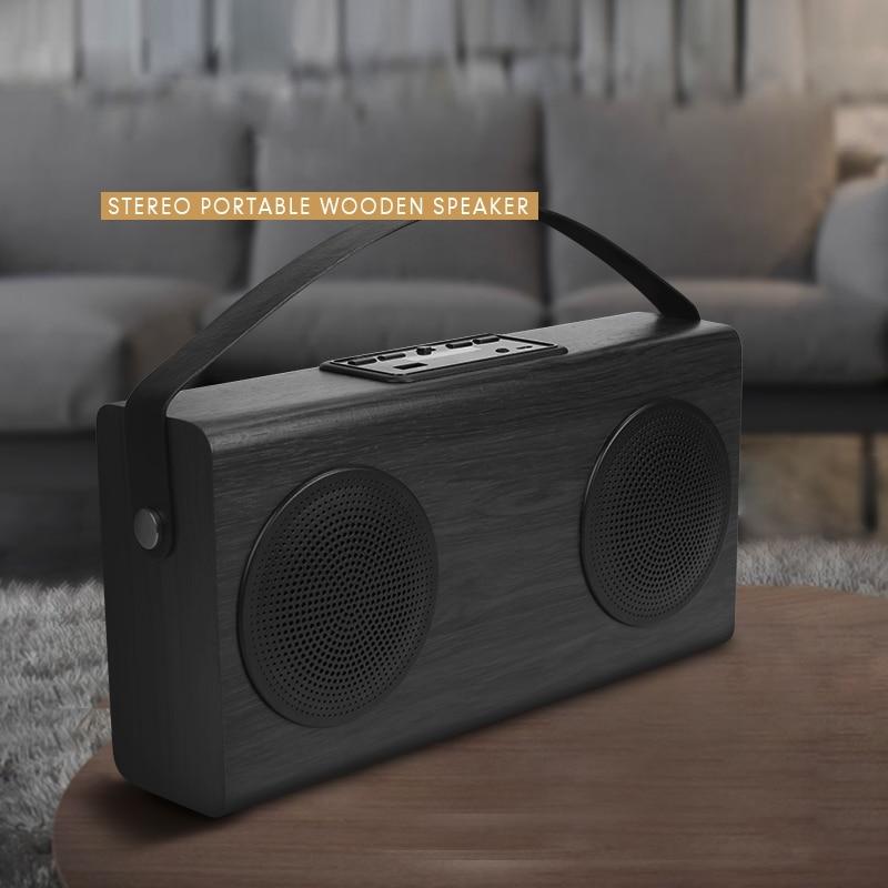 Wooden Portable Bluetooth Speaker FM Radio Wood Grain Wireless Home Bookshelf Speakers Enhanced Bass 4000mAh External Battery