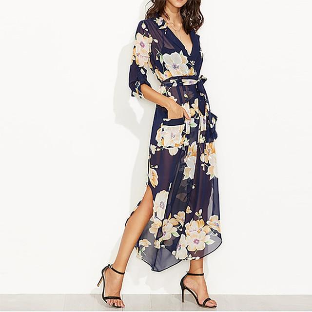 Kleid mit blumen langarm