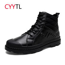 CYYTL Brand Men Boots Motocycle Warm Work Safety Shoes Winter Snow Zapatos de Hombre Male Military Sneakers Leather Erkek Bot все цены