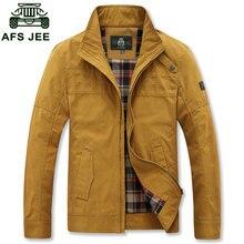 M ~ 3XL осень весна Для мужчин свободные куртки Формальное марка Тонкий Повседневное хлопок воротник стойка оранжевый плюс размеры хаки Куртки