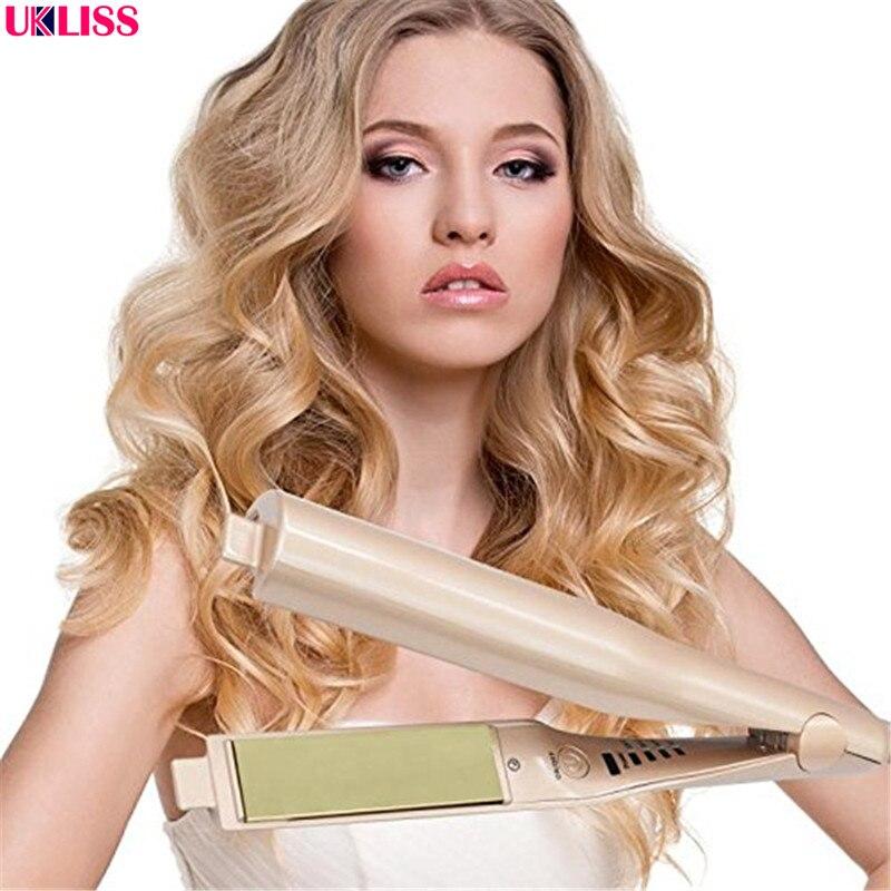 2 en 1 rizadores de pelo plancha permanente estilo Rolloer moldeador rizador herramientas varita de pelo rizado y alisado de pelo de hierro
