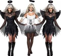 2016 nueva Fantasia disfraces de Halloween para mujeres Fantasy Cosplay del vestido de lujo adulto Fallen Angel traje con alas de ángel