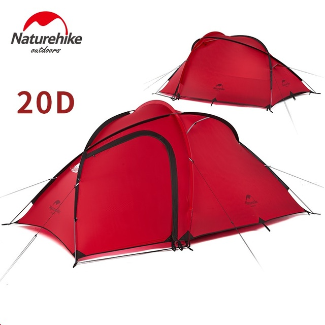 NatureHike New Hiby 3 Man Tent Outdoor 2 Room 3 Person 20D Nylon Silicone Ultralight Family Camping Tent red/ gray