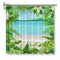NYAA тропические растения занавески для душа квадратная Цветочная рамка водостойкая полиэфирная ткань занавески для ванной комнаты для дома...