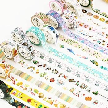 15mm X 7m Cute Lotkawaii Flower food animals Decorative Washi Tape DIY Scrapbooking Masking Tape School Office Supply Office Adhesive Tape