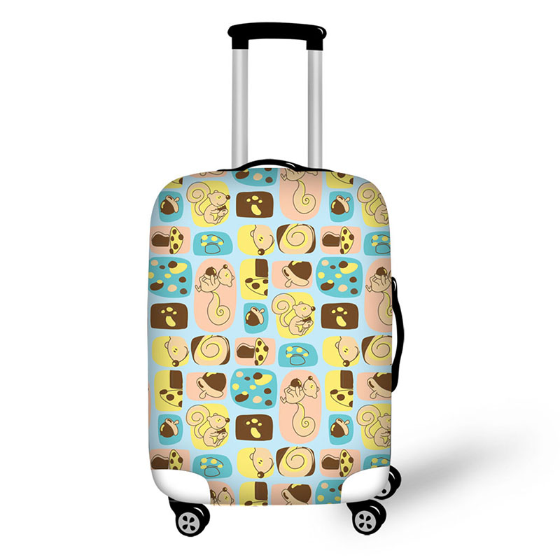 Travel Luggage Cover Children Picture Yellow Suitcase Protector Fits 18-20 Inch Washable Baggage Covers