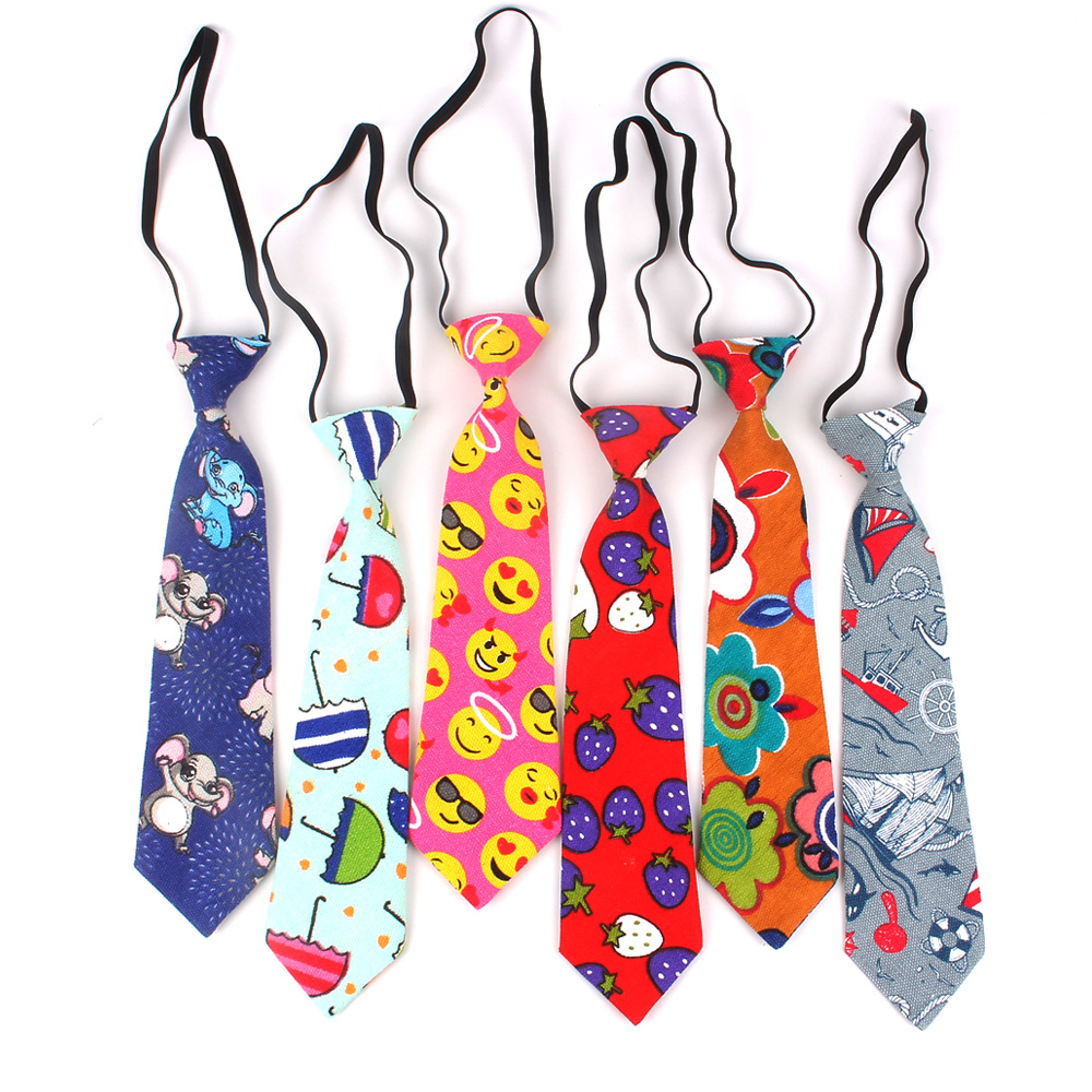 Girls Necktie Linen Cartoon Neck Tie For Children Suits 6cm Print Ties Slim Boys Tie Gravatas Rubber Tie